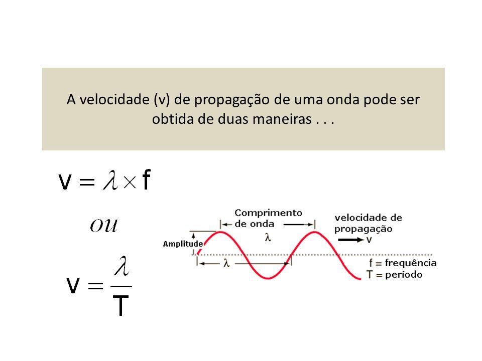 A velocidade (v) de propagação de uma onda pode ser obtida de duas maneiras...