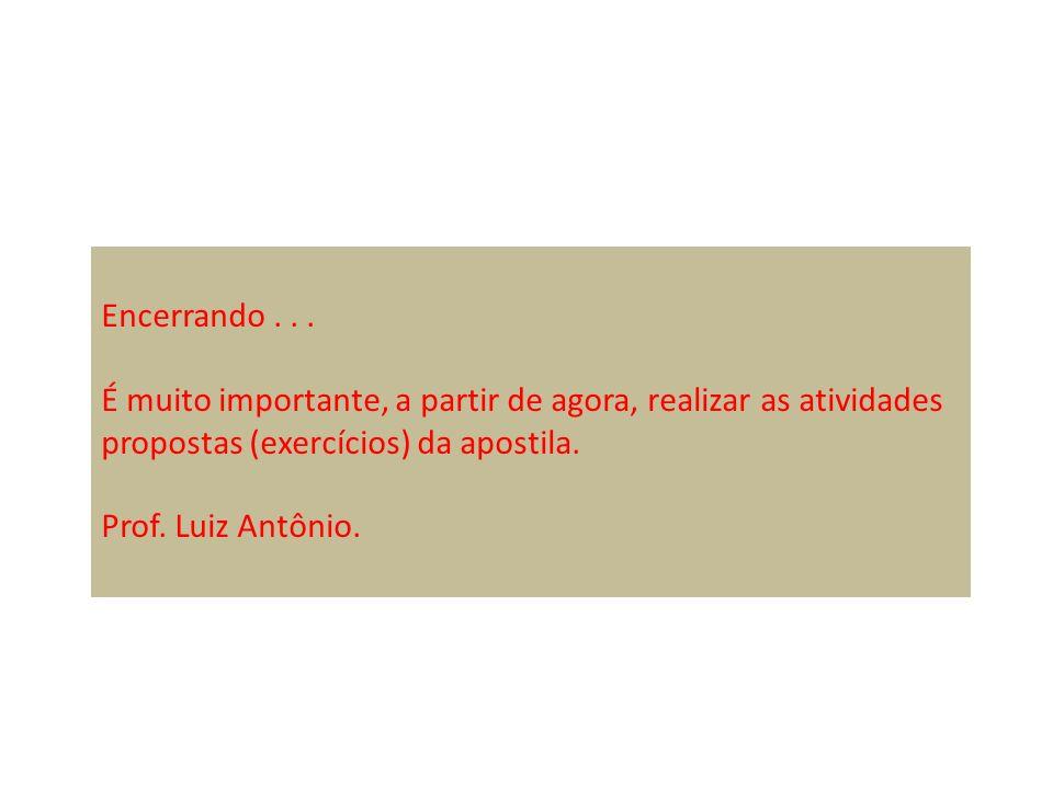 Encerrando... É muito importante, a partir de agora, realizar as atividades propostas (exercícios) da apostila. Prof. Luiz Antônio.