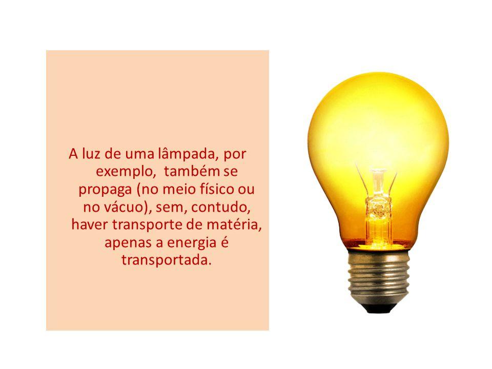 A luz de uma lâmpada, por exemplo, também se propaga (no meio físico ou no vácuo), sem, contudo, haver transporte de matéria, apenas a energia é trans