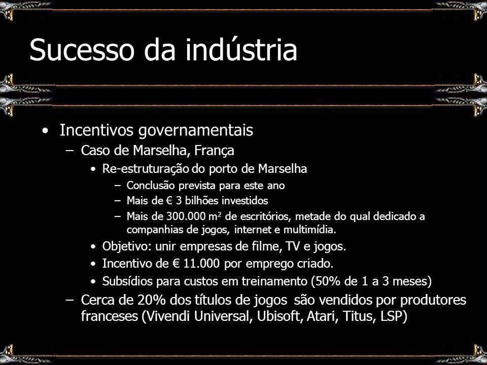 Sucesso da indústria Incentivos governamentais –Caso de Marselha, França Re-estruturação do porto de Marselha –Conclusão prevista para este ano –Mais