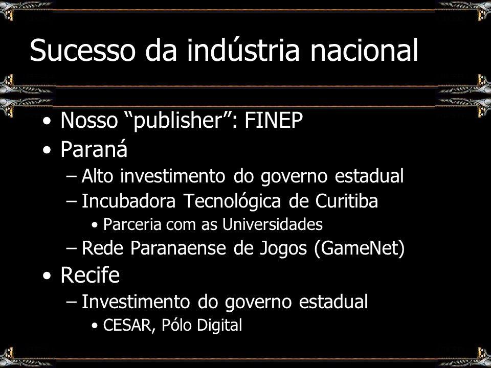 Sucesso da indústria nacional Nosso publisher: FINEP Paraná –Alto investimento do governo estadual –Incubadora Tecnológica de Curitiba Parceria com as