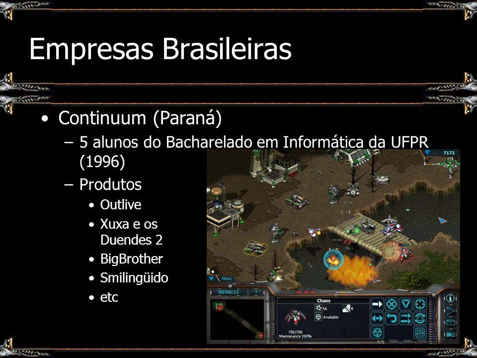 Empresas Brasileiras Continuum (Paraná) –5 alunos do Bacharelado em Informática da UFPR (1996) –Produtos Outlive Xuxa e os Duendes 2 BigBrother Smilin