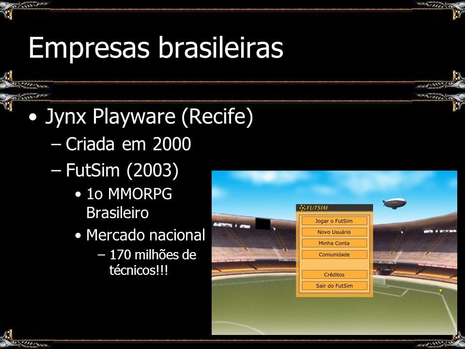 Empresas brasileiras Jynx Playware (Recife) –Criada em 2000 –FutSim (2003) 1o MMORPG Brasileiro Mercado nacional –170 milhões de técnicos!!!