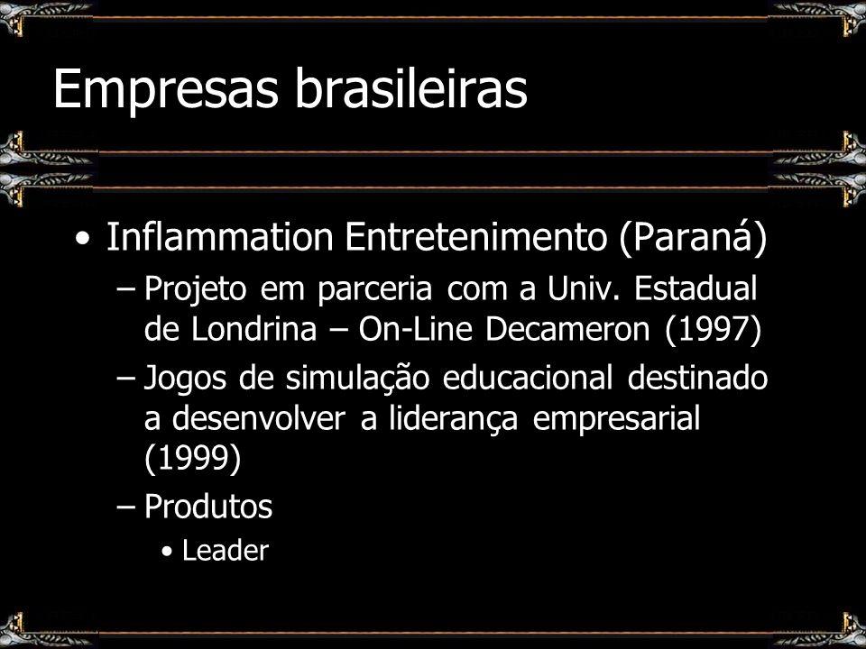 Empresas brasileiras Inflammation Entretenimento (Paraná) –Projeto em parceria com a Univ. Estadual de Londrina – On-Line Decameron (1997) –Jogos de s