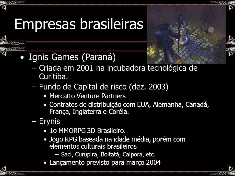 Empresas brasileiras Ignis Games (Paraná) –Criada em 2001 na incubadora tecnológica de Curitiba. –Fundo de Capital de risco (dez. 2003) Mercatto Ventu
