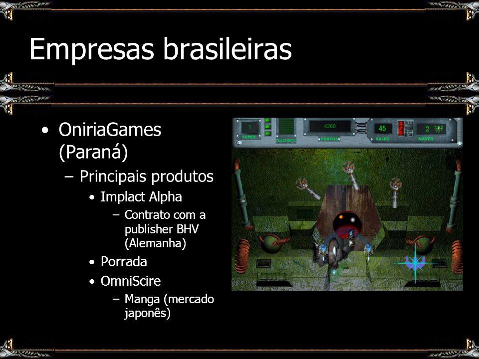 Empresas brasileiras OniriaGames (Paraná) –Principais produtos Implact Alpha –Contrato com a publisher BHV (Alemanha) Porrada OmniScire –Manga (mercad
