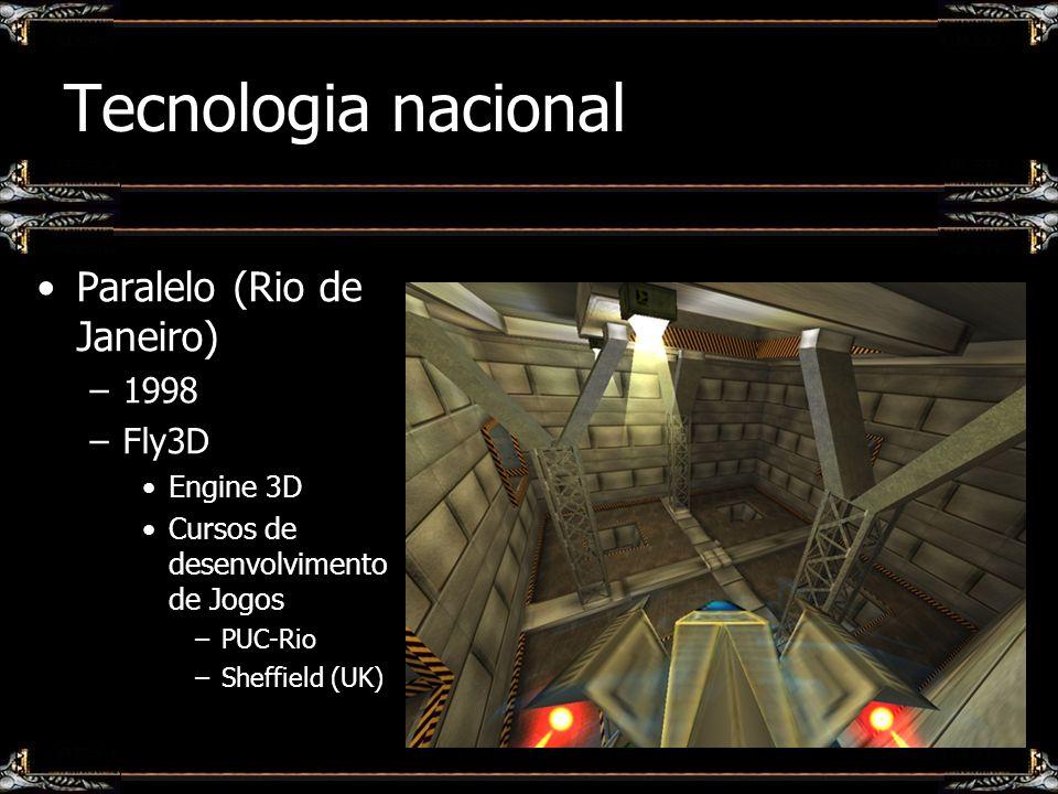 Tecnologia nacional Paralelo (Rio de Janeiro) –1998 –Fly3D Engine 3D Cursos de desenvolvimento de Jogos –PUC-Rio –Sheffield (UK)
