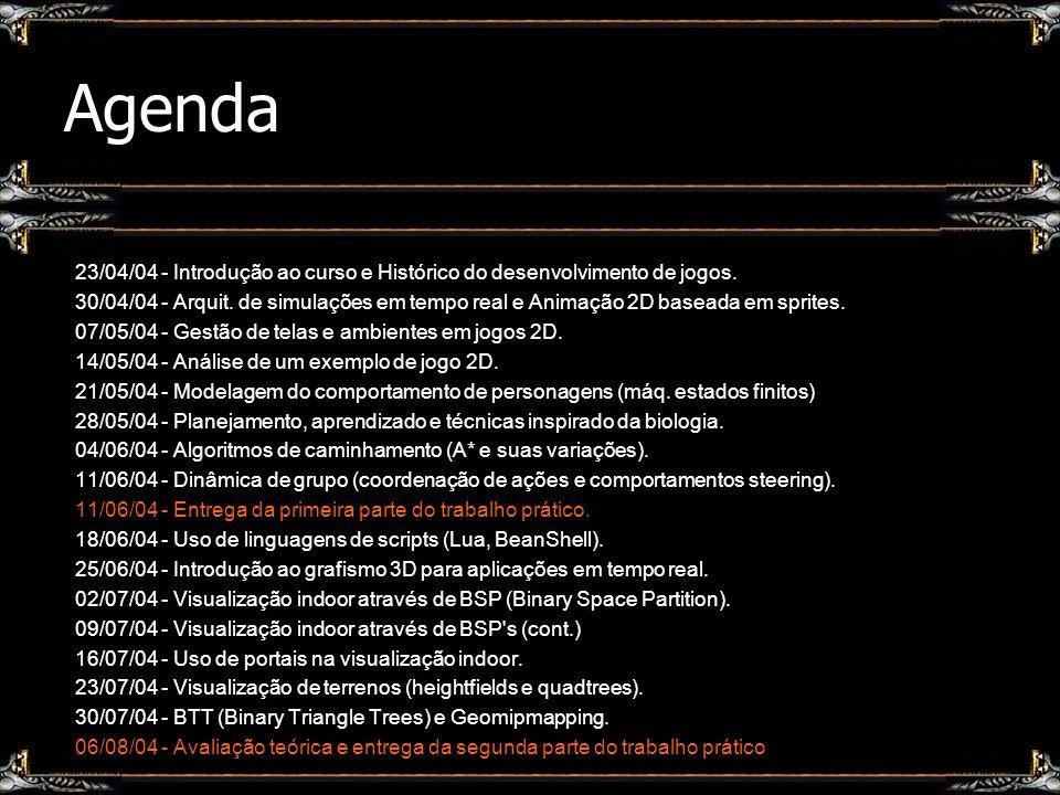 Agenda 23/04/04 - Introdução ao curso e Histórico do desenvolvimento de jogos. 30/04/04 - Arquit. de simulações em tempo real e Animação 2D baseada em