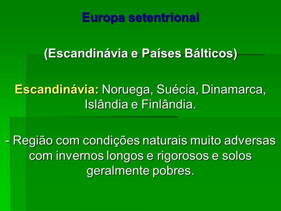 Europa setentrional (Escandinávia e Países Bálticos) Escandinávia: Noruega, Suécia, Dinamarca, Islândia e Finlândia. - Região com condições naturais m