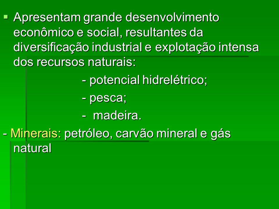 Apresentam grande desenvolvimento econômico e social, resultantes da diversificação industrial e explotação intensa dos recursos naturais: Apresentam