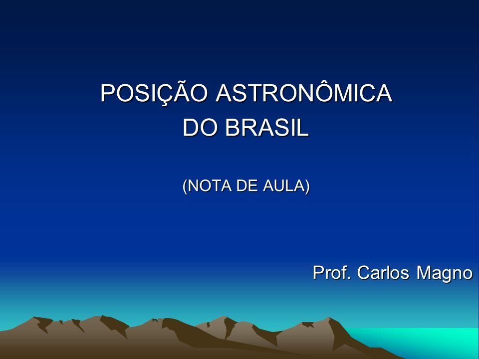 POSIÇÃO ASTRONÔMICA DO BRASIL (NOTA DE AULA) Prof. Carlos Magno Prof. Carlos Magno
