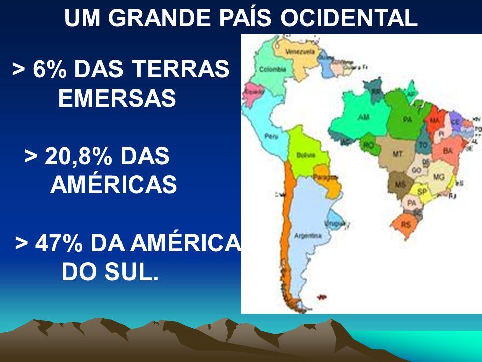 UM GRANDE PAÍS OCIDENTAL > 6% DAS TERRAS EMERSAS > 20,8% DAS AMÉRICAS > 47% DA AMÉRICA DO SUL.