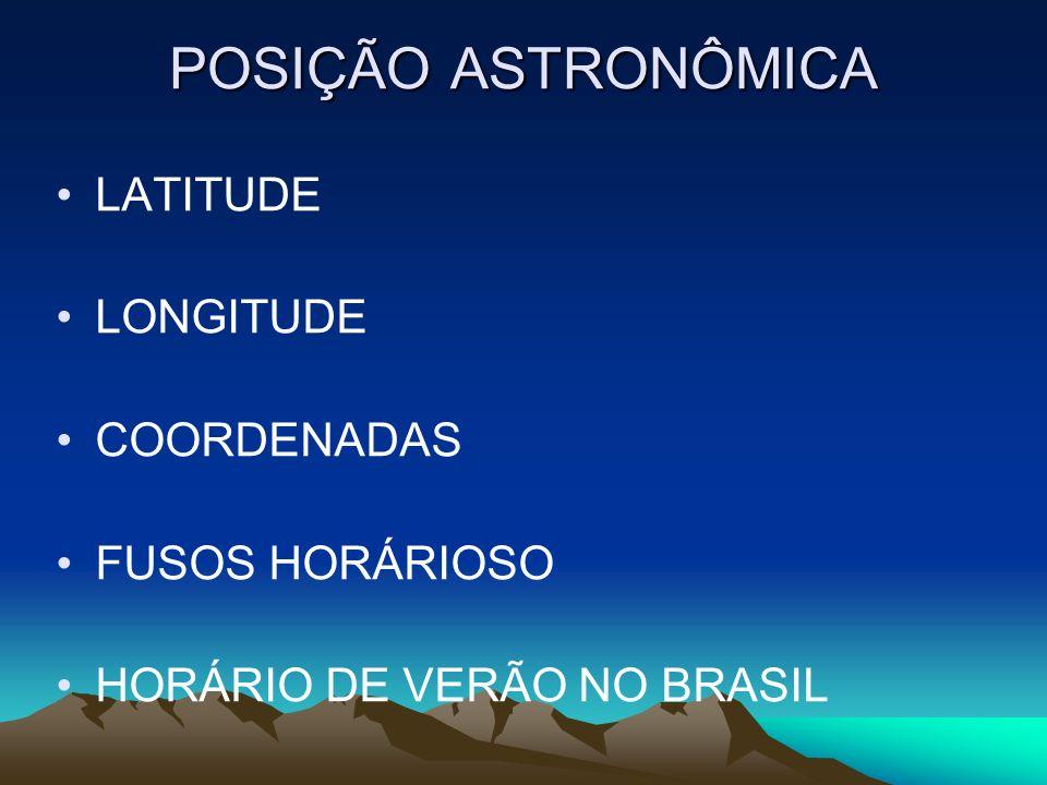 POSIÇÃO ASTRONÔMICA LATITUDE LONGITUDE COORDENADAS FUSOS HORÁRIOSO HORÁRIO DE VERÃO NO BRASIL
