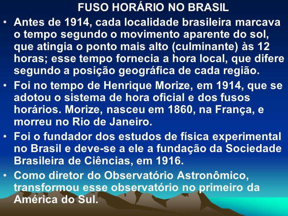 FUSO HORÁRIO NO BRASIL Antes de 1914, cada localidade brasileira marcava o tempo segundo o movimento aparente do sol, que atingia o ponto mais alto (c