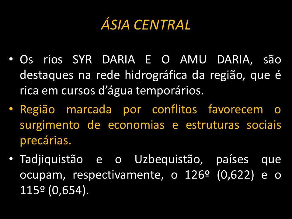 ÁSIA CENTRAL Os rios SYR DARIA E O AMU DARIA, são destaques na rede hidrográfica da região, que é rica em cursos dágua temporários. Região marcada por