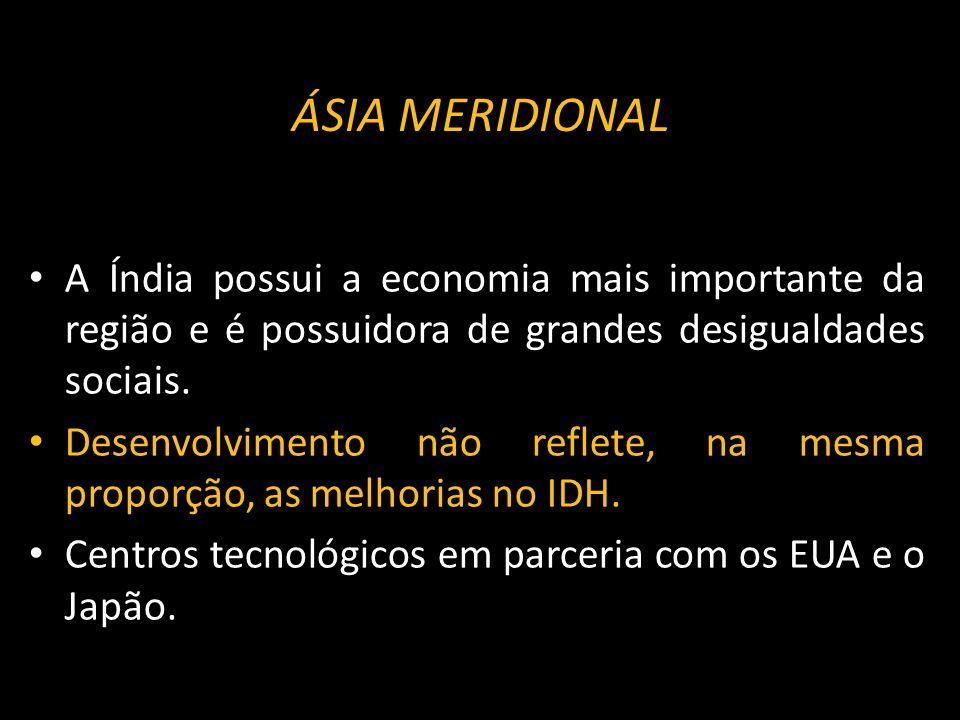 ÁSIA MERIDIONAL A Índia possui a economia mais importante da região e é possuidora de grandes desigualdades sociais. Desenvolvimento não reflete, na m