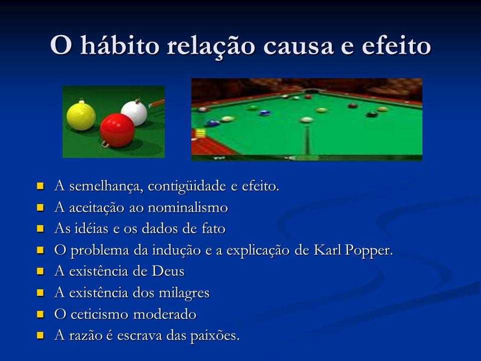 O hábito relação causa e efeito A semelhança, contigüidade e efeito.