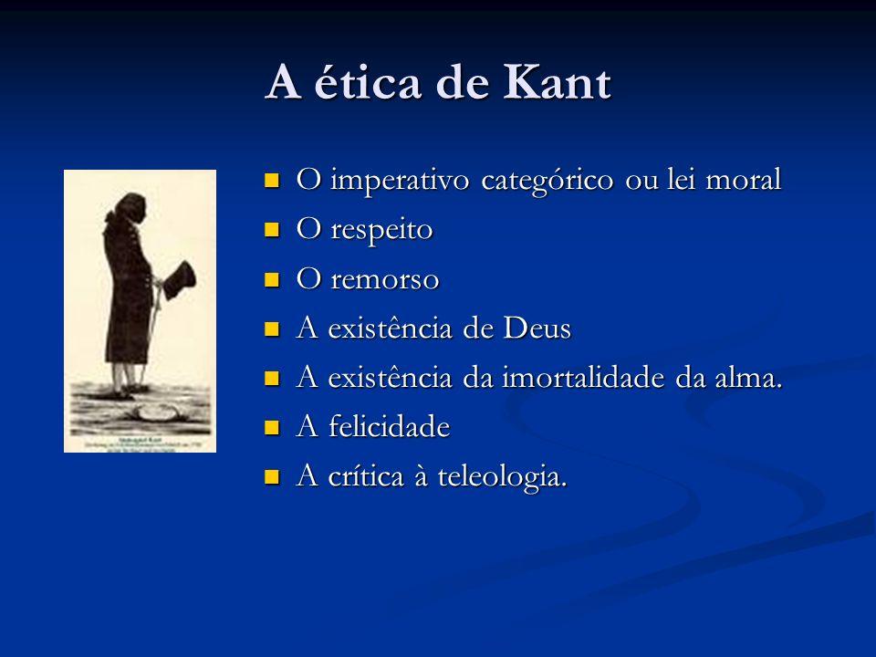A ética de Kant O imperativo categórico ou lei moral O imperativo categórico ou lei moral O respeito O respeito O remorso O remorso A existência de Deus A existência de Deus A existência da imortalidade da alma.