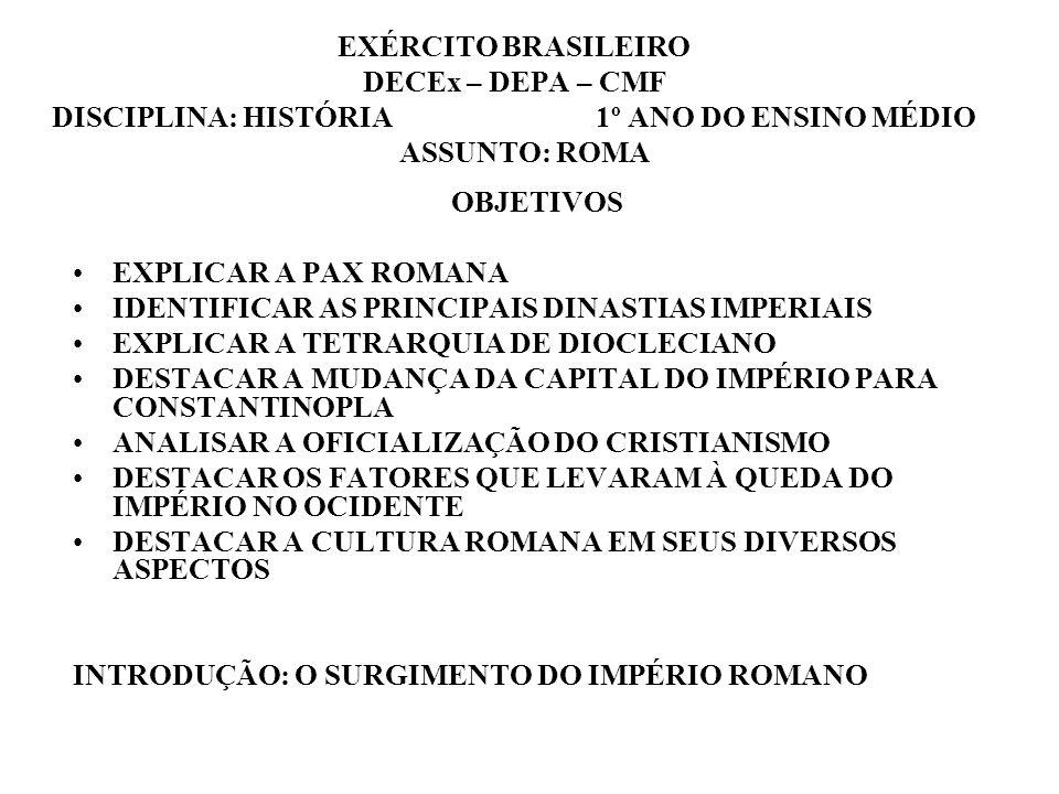 Otávio Augusto tornou-se o primeiro Imperador romano e foi ainda durante seu governo que Roma alcançou seu esplendor A Pax Romana foi o período em que as guerras de conquista se encerraram e o Império alcançou sua maior extensão Imperadores como Tibério, após Augusto, Trajano, Adriano, Antônio Pio e Marco Aurélio se destacaram nesse período, de grande prosperidade e estabilidade no governo Todas as províncias passaram a enviar tributos a Roma e eram obrigadas a participar do exército Até o final do século II, houve três dinastias no poder (Júlio-claudiana, Flávia e Antonina) A partir daí teve início um período de declínio, causado por lutas internas, que vieram originar crises econômicas e políticas no Império Povos bárbaros, pressionados pelos persas e pelos hunos, começam a pressionar as fronteiras ou mesmo conquistar territórios romanos Visando pôr um fim à desordem, Diocleciano estabelece a tetrarquia, dividindo o Império entre quatro governantes (2 Augustos e dois Césares) Constantino restabeleceu o governo único e fundou uma nova capital para o Império, dando-lhe seu nome Teodósio, no final do século IV, converteu o cristianismo em religião oficial de Roma e dividiu o Império em dois, Ocidente e Oriente