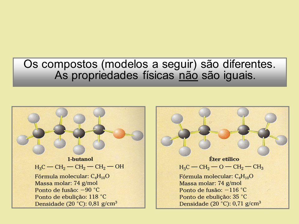 Mas as substâncias têm a mesma fórmula molecular (C 4 H 10 O). São, portanto, ISÔMEROS.