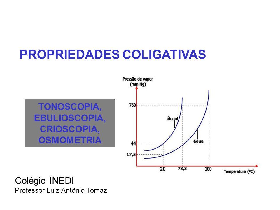 TONOSCOPIA, EBULIOSCOPIA, CRIOSCOPIA, OSMOMETRIA Colégio INEDI Professor Luiz Antônio Tomaz PROPRIEDADES COLIGATIVAS