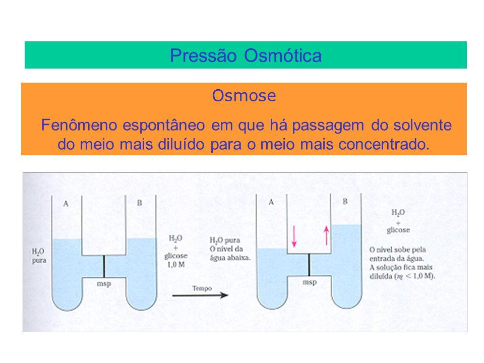 Pressão Osmótica Osmose Fenômeno espontâneo em que há passagem do solvente do meio mais diluído para o meio mais concentrado.