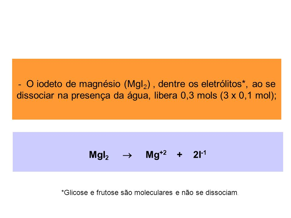 - O iodeto de magnésio (MgI 2 ), dentre os eletrólitos*, ao se dissociar na presença da água, libera 0,3 mols (3 x 0,1 mol); MgI 2 Mg +2 + 2I -1 *Glic