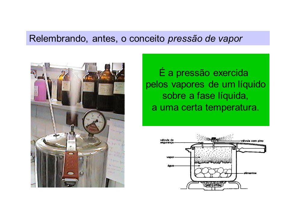 Relembrando, antes, o conceito pressão de vapor É a pressão exercida pelos vapores de um líquido sobre a fase líquida, a uma certa temperatura.