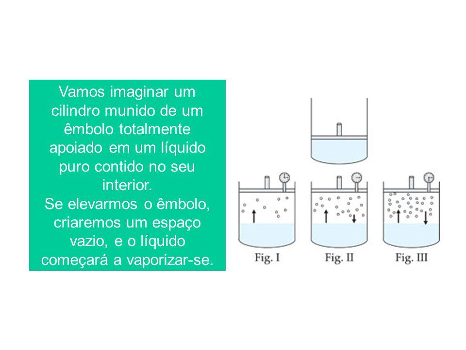 Vamos imaginar um cilindro munido de um êmbolo totalmente apoiado em um líquido puro contido no seu interior. Se elevarmos o êmbolo, criaremos um espa