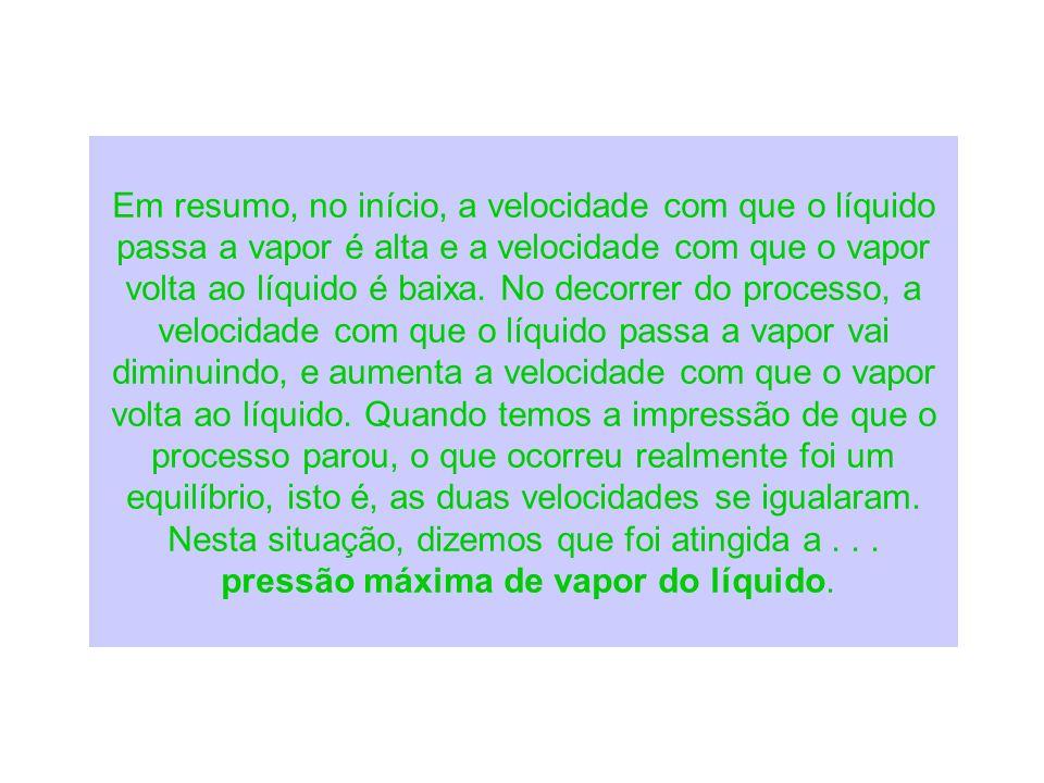 Em resumo, no início, a velocidade com que o líquido passa a vapor é alta e a velocidade com que o vapor volta ao líquido é baixa. No decorrer do proc