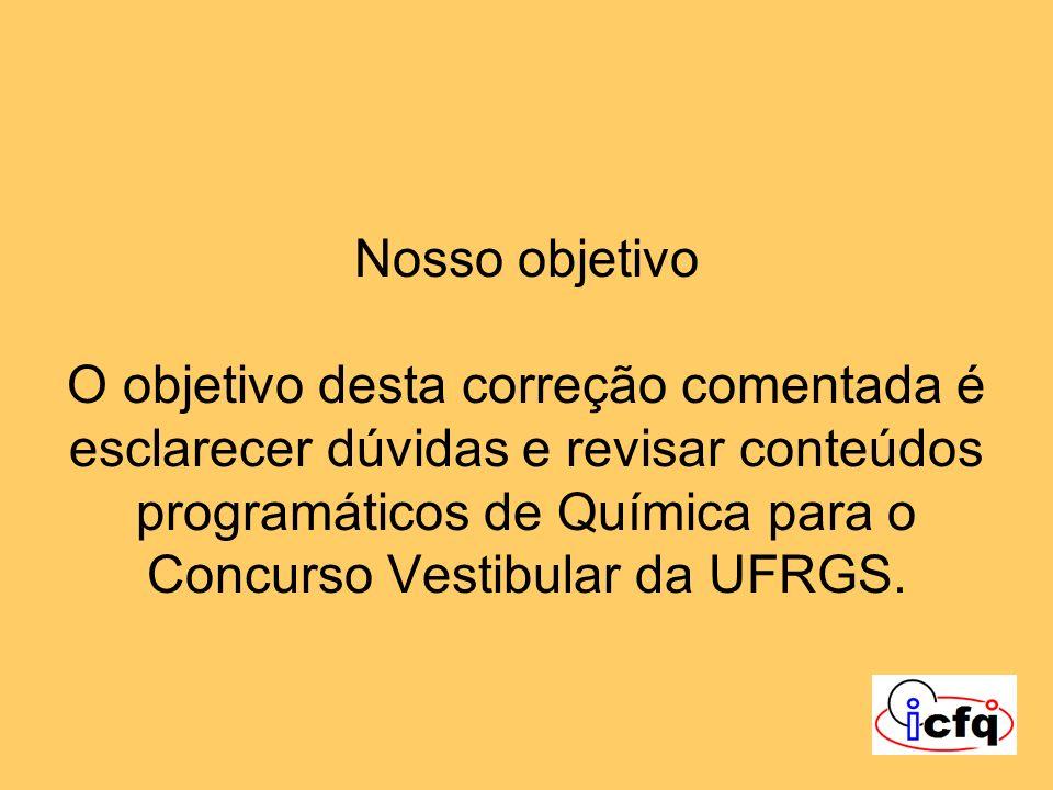 Nosso objetivo O objetivo desta correção comentada é esclarecer dúvidas e revisar conteúdos programáticos de Química para o Concurso Vestibular da UFR