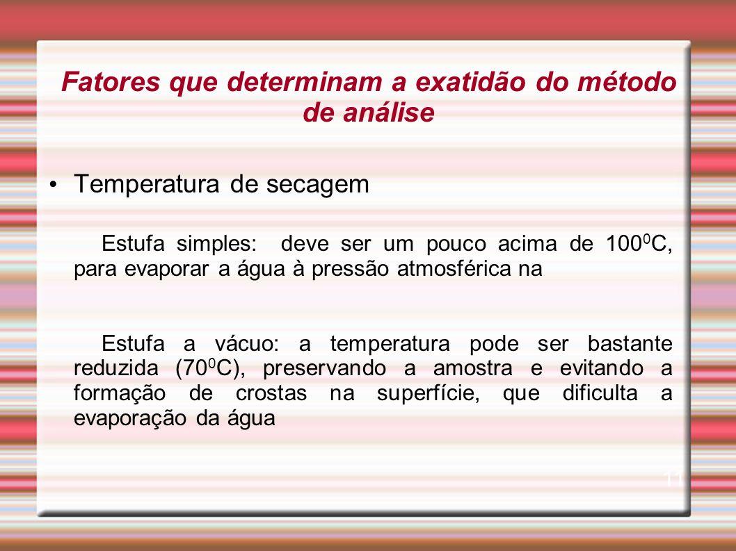 Fatores que determinam a exatidão do método de análise Temperatura de secagem Estufa simples: deve ser um pouco acima de 100 0 C, para evaporar a água