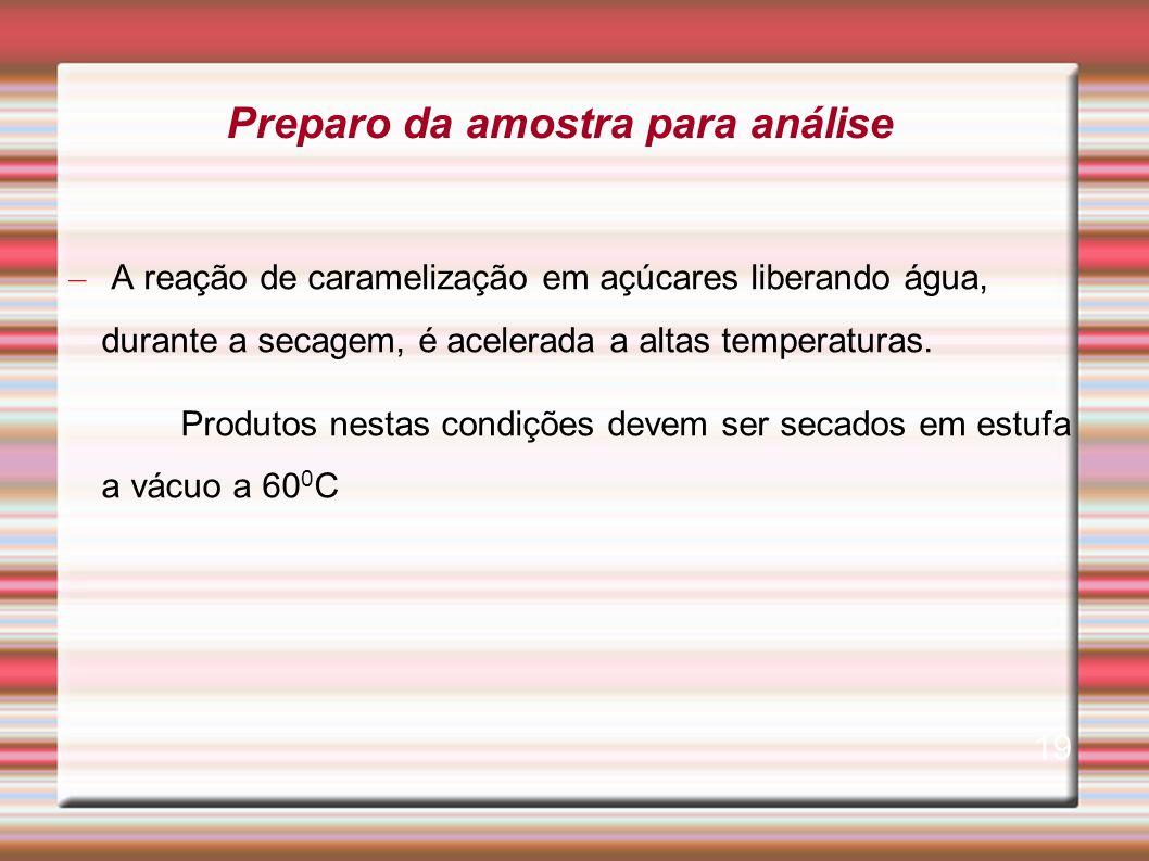 – A reação de caramelização em açúcares liberando água, durante a secagem, é acelerada a altas temperaturas. Produtos nestas condições devem ser secad