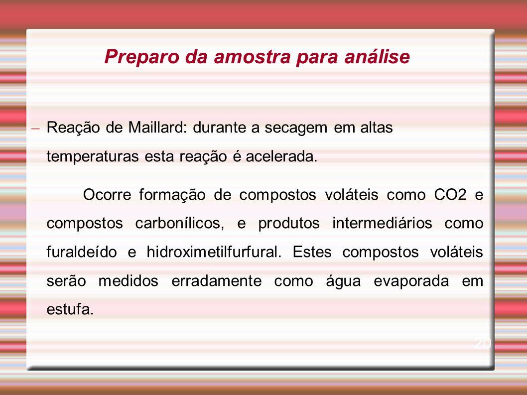 – Reação de Maillard: durante a secagem em altas temperaturas esta reação é acelerada. Ocorre formação de compostos voláteis como CO2 e compostos carb