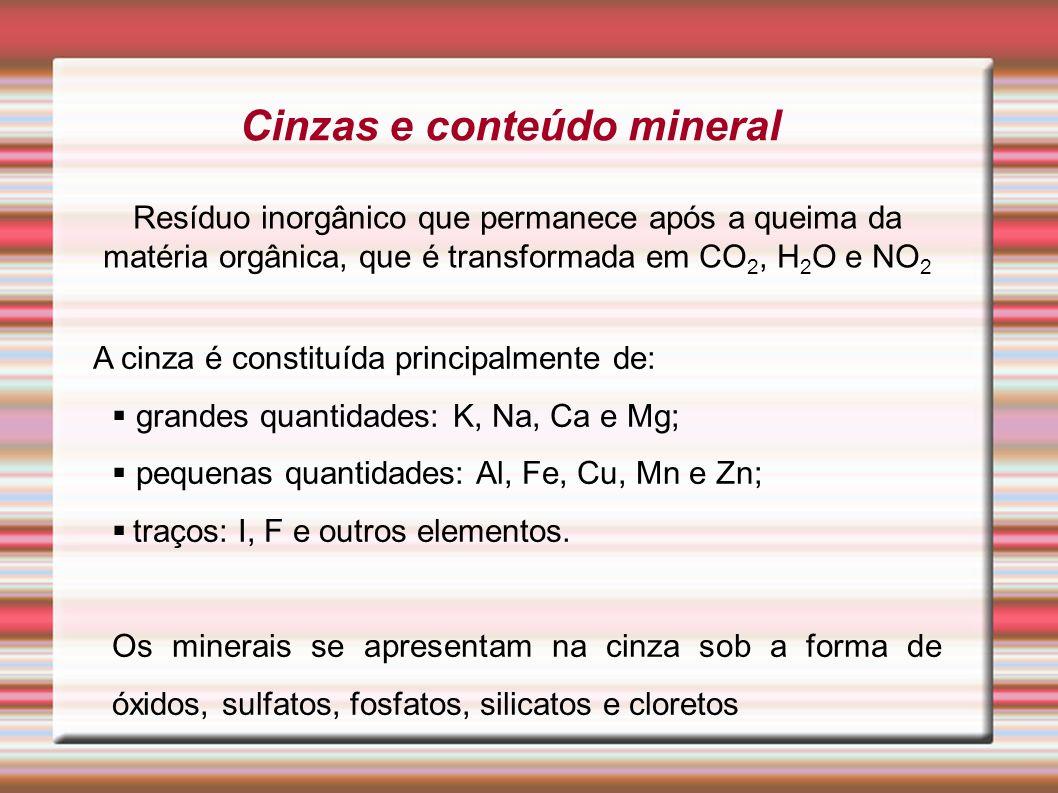 Cinzas e conteúdo mineral Resíduo inorgânico que permanece após a queima da matéria orgânica, que é transformada em CO 2, H 2 O e NO 2 A cinza é const