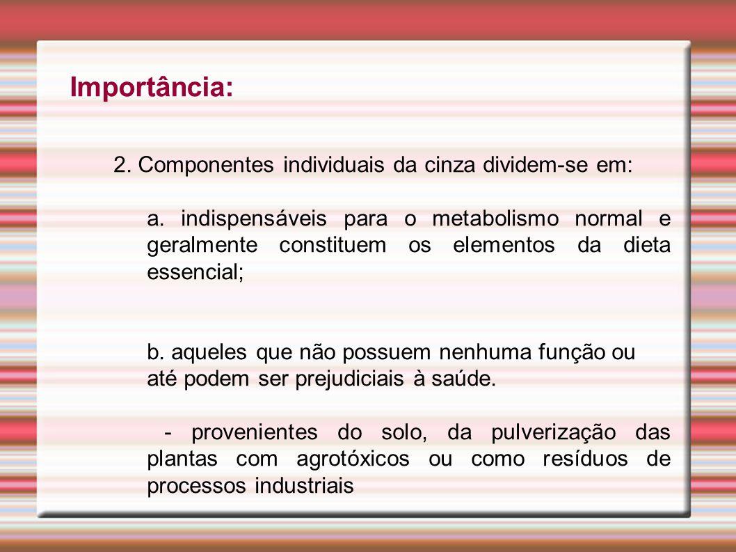 Importância: 2. Componentes individuais da cinza dividem-se em: a. indispensáveis para o metabolismo normal e geralmente constituem os elementos da di