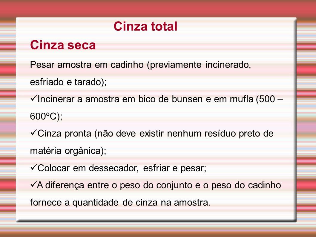 Cinza total Cinza seca Pesar amostra em cadinho (previamente incinerado, esfriado e tarado); Incinerar a amostra em bico de bunsen e em mufla (500 – 6