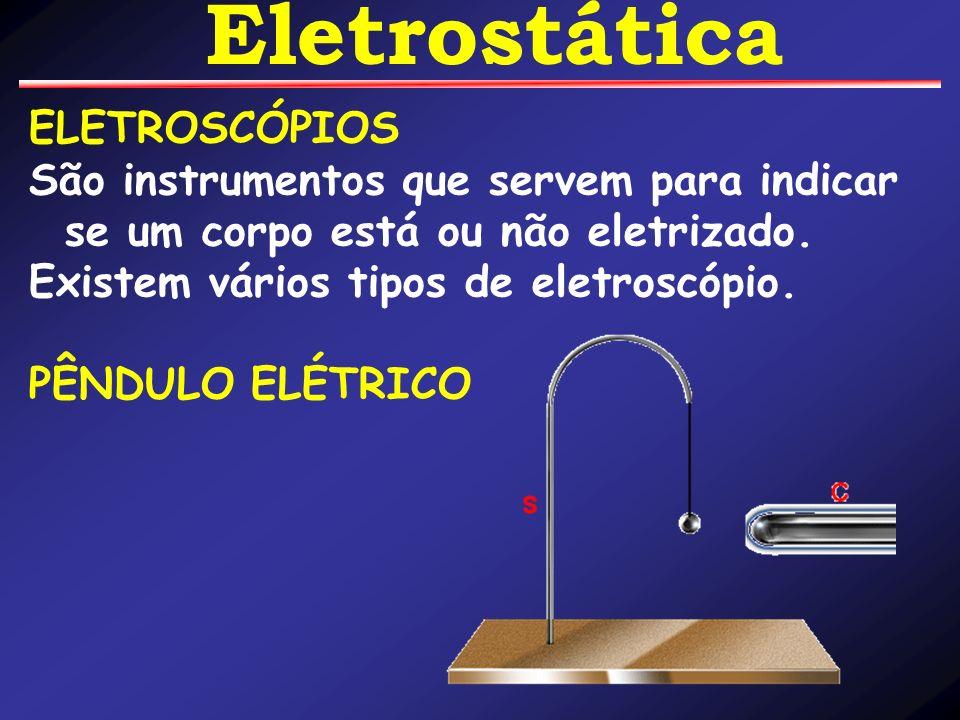 ELETROSCÓPIOS São instrumentos que servem para indicar se um corpo está ou não eletrizado. Existem vários tipos de eletroscópio. PÊNDULO ELÉTRICO