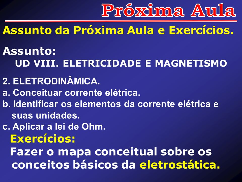 Assunto da Próxima Aula e Exercícios. Assunto: UD VIII. ELETRICIDADE E MAGNETISMO 2. ELETRODINÂMICA. a. Conceituar corrente elétrica. b. Identificar o