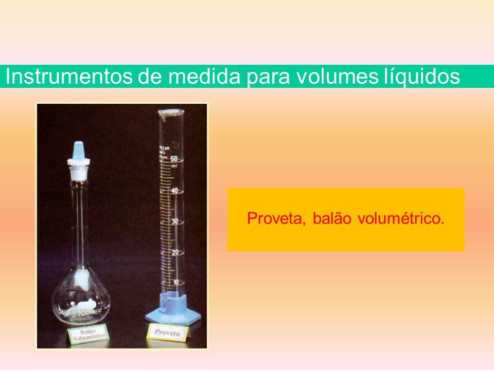 Proveta, balão volumétrico. Instrumentos de medida para volumes líquidos
