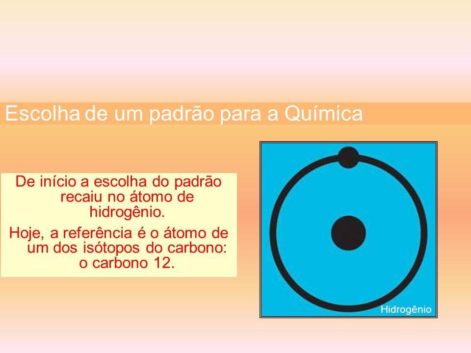 De início a escolha do padrão recaiu no átomo de hidrogênio. Hoje, a referência é o átomo de um dos isótopos do carbono: o carbono 12. Escolha de um p