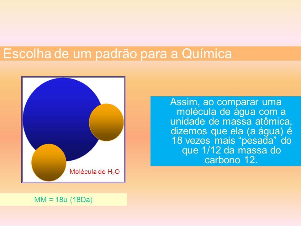 Assim, ao comparar uma molécula de água com a unidade de massa atômica, dizemos que ela (a água) é 18 vezes mais pesada do que 1/12 da massa do carbon