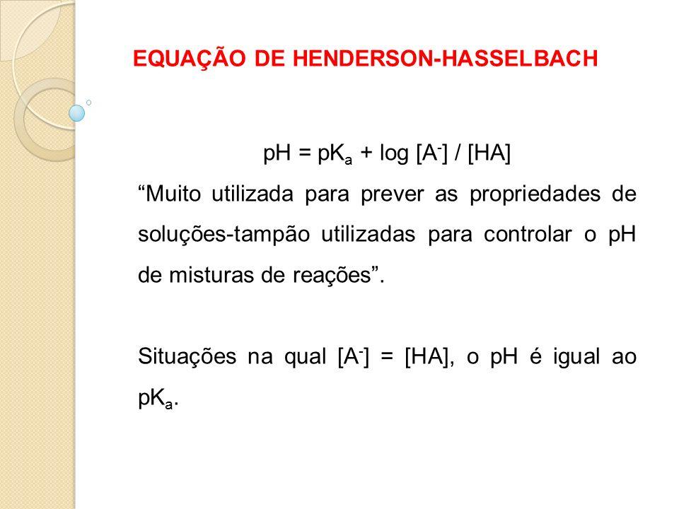 EQUAÇÃO DE HENDERSON-HASSELBACH pH = pK a + log [A - ] / [HA] Muito utilizada para prever as propriedades de soluções-tampão utilizadas para controlar