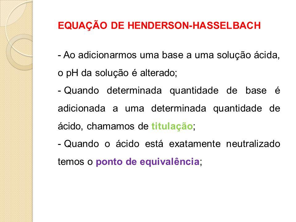 EQUAÇÃO DE HENDERSON-HASSELBACH - Ao adicionarmos uma base a uma solução ácida, o pH da solução é alterado; - Quando determinada quantidade de base é