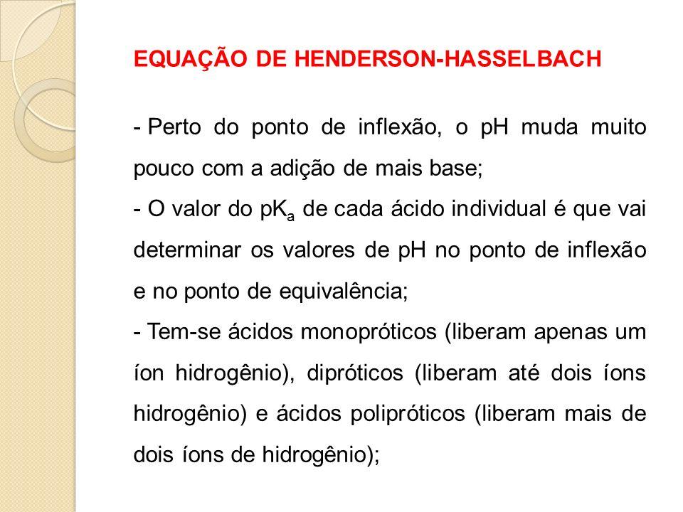 EQUAÇÃO DE HENDERSON-HASSELBACH - Perto do ponto de inflexão, o pH muda muito pouco com a adição de mais base; - O valor do pK a de cada ácido individ