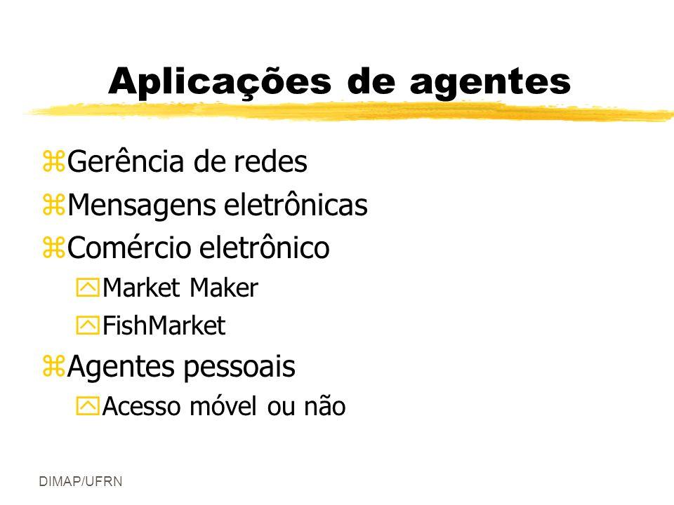 DIMAP/UFRN Aplicações de agentes zGerência de redes zMensagens eletrônicas zComércio eletrônico yMarket Maker yFishMarket zAgentes pessoais yAcesso móvel ou não
