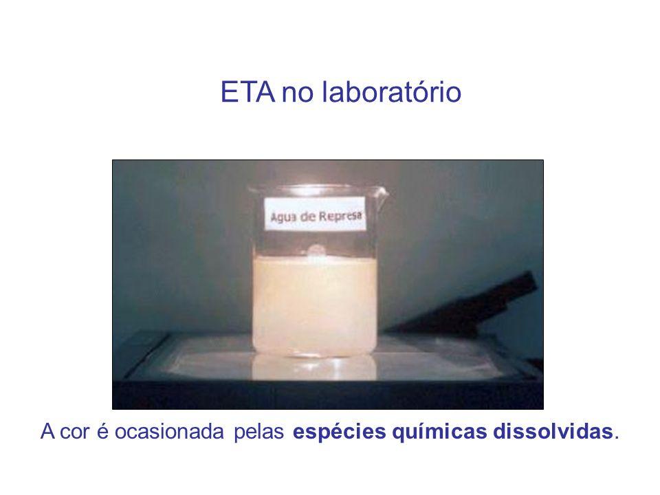 ETA no laboratório A cor é ocasionada pelas espécies químicas dissolvidas.