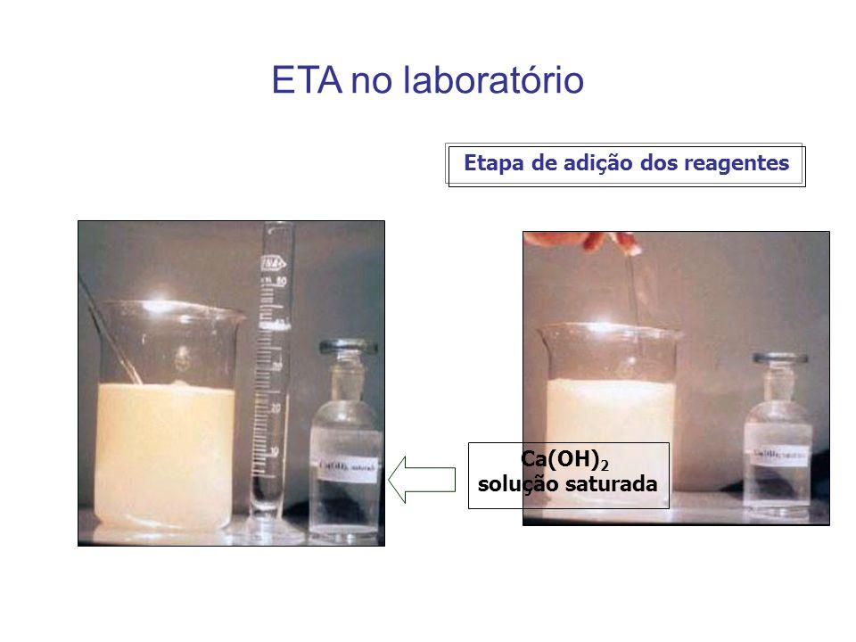 ETA no laboratório Etapa de adição dos reagentes Ca(OH) 2 solução saturada