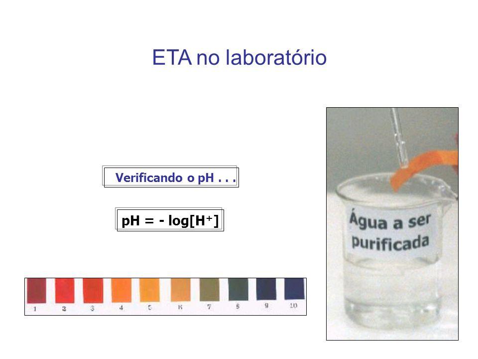 ETA no laboratório Verificando o pH... pH = - log[H + ]