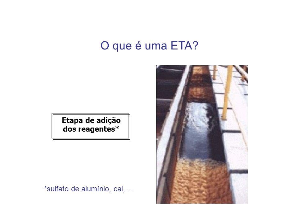 Etapa de adição dos reagentes* O que é uma ETA? *sulfato de alumínio, cal,...
